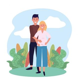 Kobieta i mężczyzna para w ciąży z roślinami