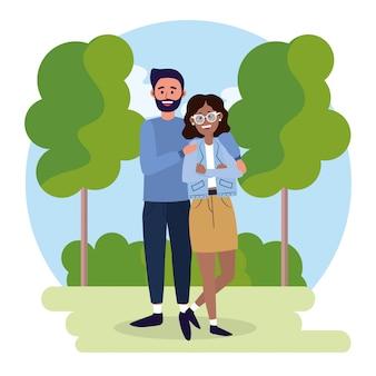 Kobieta i mężczyzna para z dorywczo ubrania