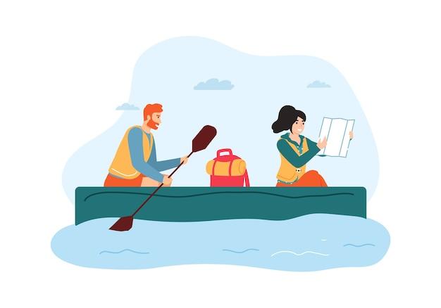 Kobieta i mężczyzna podróżujący łodzią. facet trzymając wiosło i wioślarstwo, dziewczyna patrząc na mapę i szukając kierunku.