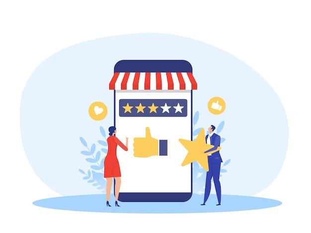 Kobieta i mężczyzna posiadający gwiazdki ocena dla głosowania sklep sklep biznes koncepcja ilustracji wektorowych