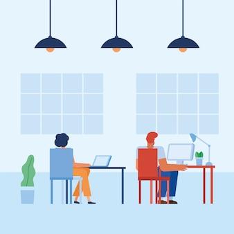 Kobieta i mężczyzna przy biurku w biurze projektowania, siły roboczej obiektów biznesowych i motyw korporacyjny