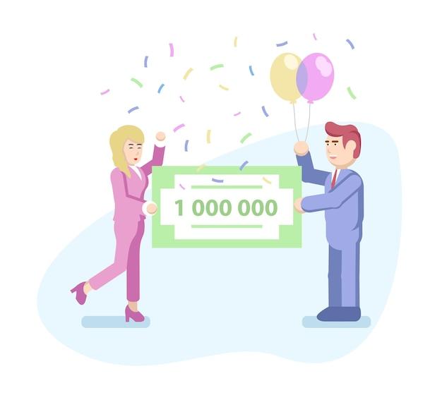 Kobieta i mężczyzna w formalnych garniturach trzymają czek bankowy na milion dolarów. koncepcja wygranej na loterii. ilustracja wektorowa w stylu płaski.