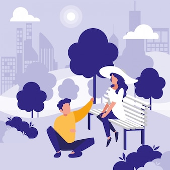 Kobieta i mężczyzna w parku wektor wzór