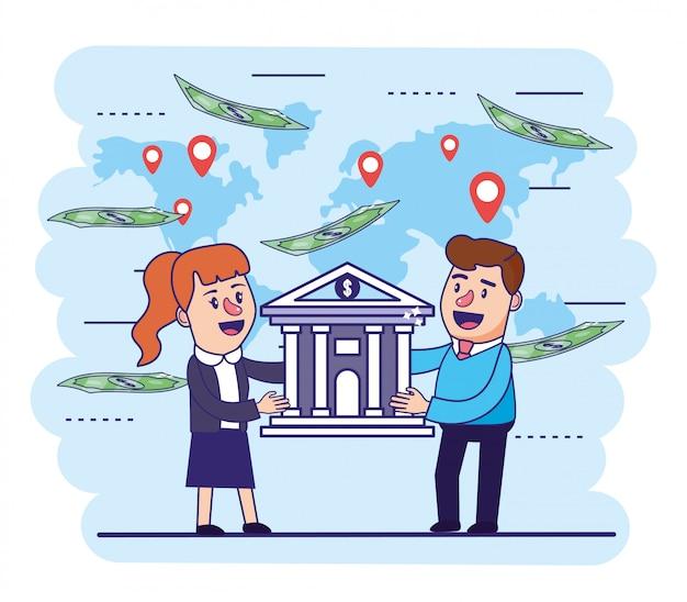 Kobieta i mężczyzna z cyfrowym bankiem i rachunkami