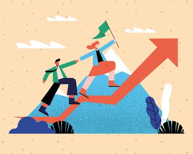 Kobieta i mężczyzna z flagą na infografice zwiększają strzałkę przed projektem gór, analizą danych i ilustracją tematu informacji