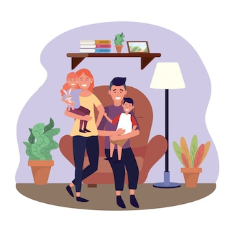 Kobieta i mężczyzna z ich córką i synem w krześle