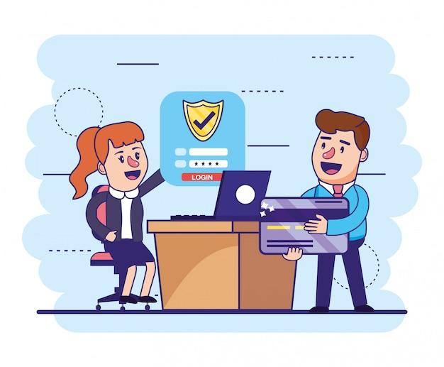 Kobieta i mężczyzna z kartą kredytową i laptopem