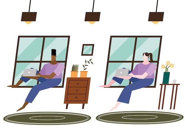 Kobieta i mężczyzna z laptopem w domu projekt motywu aktywności i wypoczynku.