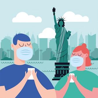 Kobieta i mężczyzna z maską przy nowym york miastem