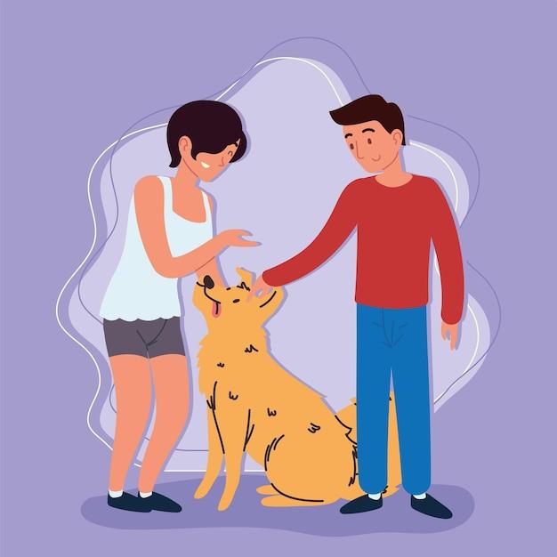 Kobieta i mężczyzna z psem