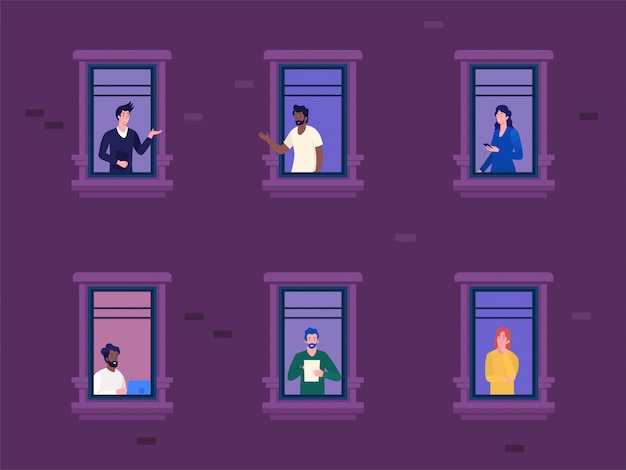 Kobieta i mężczyźni pracujący w domu podczas wybuchu covid 19 wektor ilustracja koncepcja, dystans społeczny, aby zapobiec wirusowi korony, aktywność ludzi w mieszkaniu inne, można użyć, strona docelowa, baner