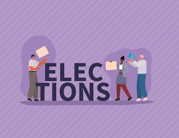 Kobieta i mężczyźni z plakatów wyborczych i megafonu, dzień wyborów