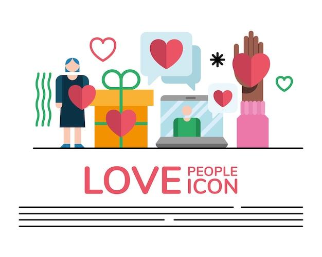 Kobieta i pakiet ludzi miłości ustawiają ikony i projekt ilustracji napis