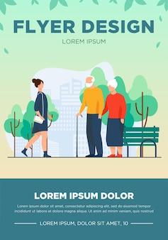 Kobieta i para starszych spaceru w parku miejskim. jesień, gród, ilustracja wektorowa płaski miejski styl życia. koncepcja weekendu i sezonu