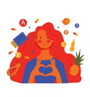 Kobieta i produkty do zdrowego odżywiania, dziewczyna bierze witaminy na skórę i włosy, równowaga witamin. ilustracja na białym tle.