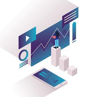 Kobieta i wykresy ze smartfonem i szablonami sieci web wektor ilustracja projekt