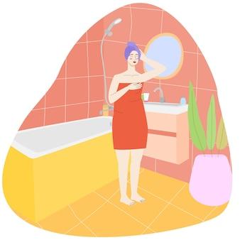 Kobieta idzie na randkę dziewczyna w łazience w ręczniku i turbanie wnętrze łazienki