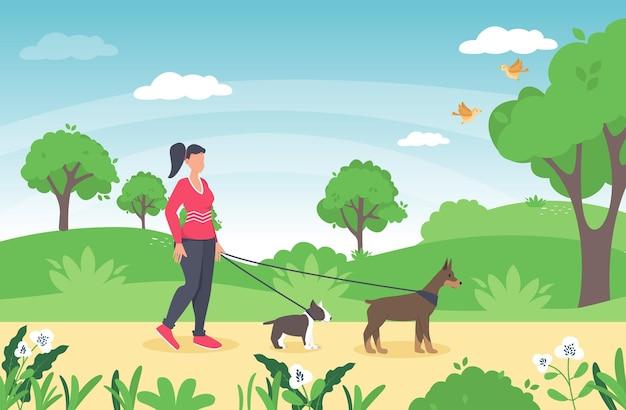 Kobieta idzie z psem. ilustracja w płaski pies chodząca dziewczyna w parku. wiosenny krajobraz przyrody. charakter letniej łąki ze zwierzakiem. przyjaźń psa kobiety.