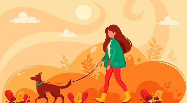 Kobieta idzie z psem jesienią. jesienny park. ilustracja w stylu płaski.
