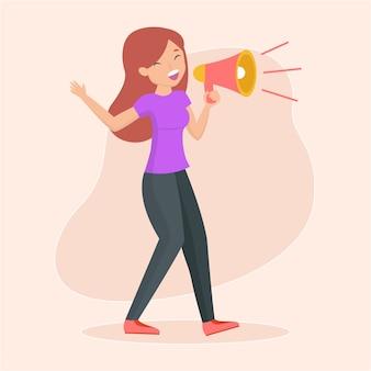 Kobieta ilustruje krzyczeć