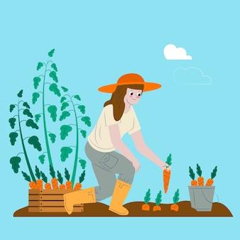 Kobieta ilustruje organicznie uprawia ziemię pojęcie