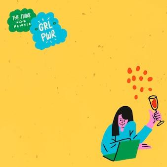 Kobieta inicjacja obramowania ramki edytowalny wektor żółty styl pop-art