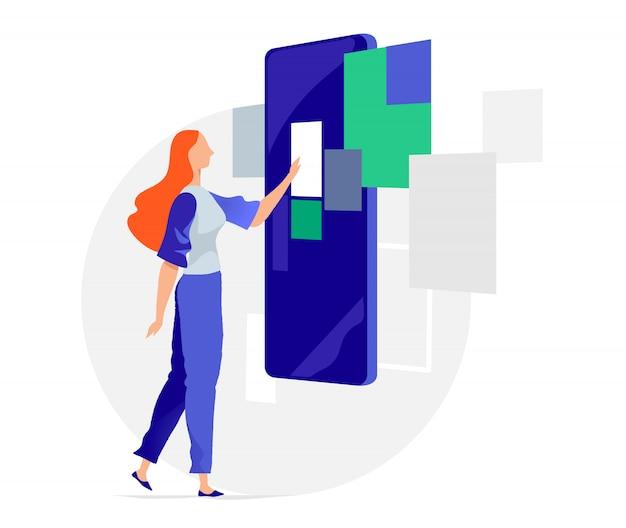 Kobieta interakcji z urządzeniem z ekranem dotykowym