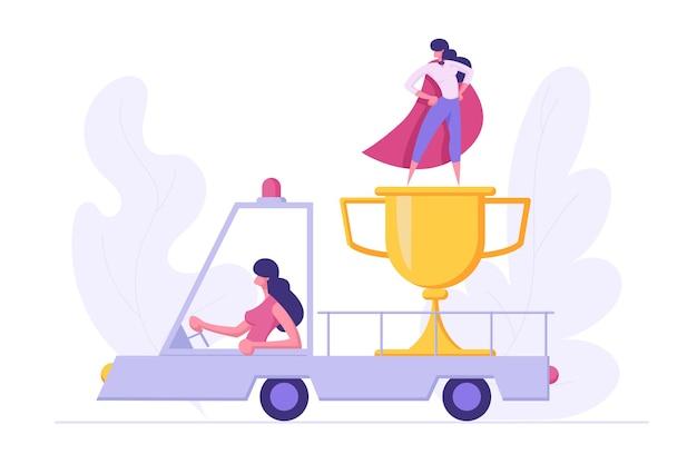 Kobieta interesu charakter jazdy samochód ciężarowy z nagrodą