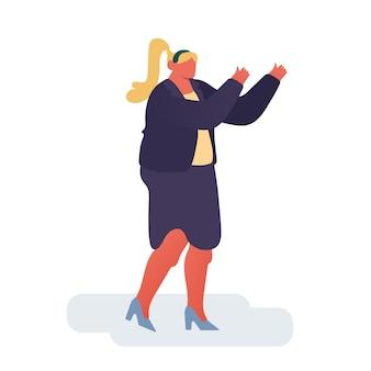 Kobieta interesu radość postać, udany menedżer macha rękami na białym tle.