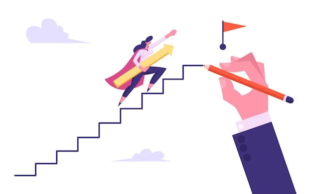 Kobieta interesu superbohatera podbiega ilustracja schody