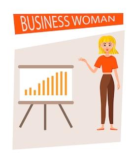 Kobieta interesu zestaw do projektowania postaci pracy. dziewczyna pokazuje się na wykresie rozwoju. ilustracja wektorowa.