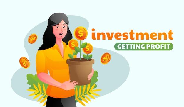 Kobieta inwestuje i zarabia pieniądze