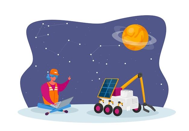 Kobieta inżynier kontroli postaci łazik poruszający się po powierzchni obcej planety