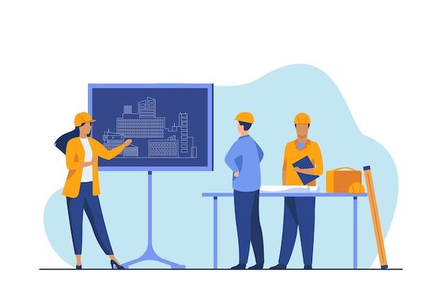 Kobieta inżynier stojący w pobliżu tablicy wyjaśniającej projekt. projekt, budowa, ilustracja wektorowa płaski pracownik. budowa i architektura