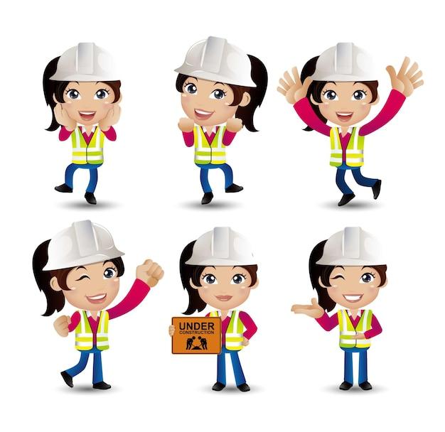 Kobieta inżynier z różnymi pozami