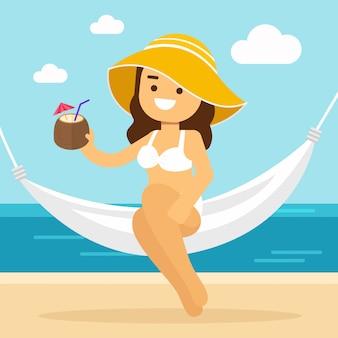 Kobieta iść podróżować w wakacje letni, seksowna młoda dziewczyna relaksuje w hamaku, hawajczyka luau przyjęcia koktajl