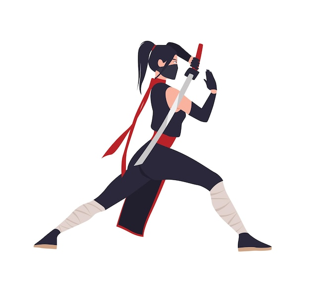 Kobieta japońska wojowniczka, ninja lub samuraj. odważna kobieta stojąca w postawie bojowej i trzymająca miecz katana na białym tle na białej powierzchni