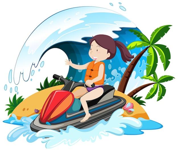Kobieta jazda na nartach wodnych postać z kreskówki na białym tle