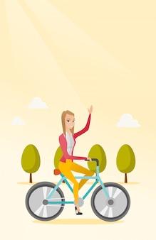 Kobieta jazda rowerem