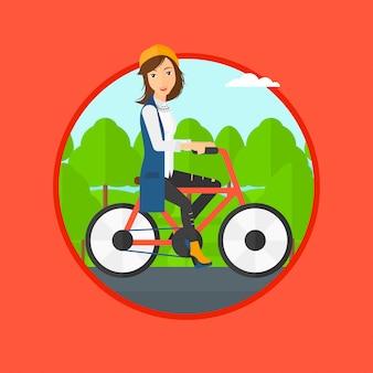 Kobieta jazda rowerem.