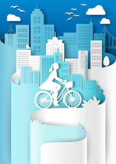 Kobieta jedzie na rowerze z koszem miasto budynek sylwetki wektor cięcia papieru ilustracja miasto eco tr...