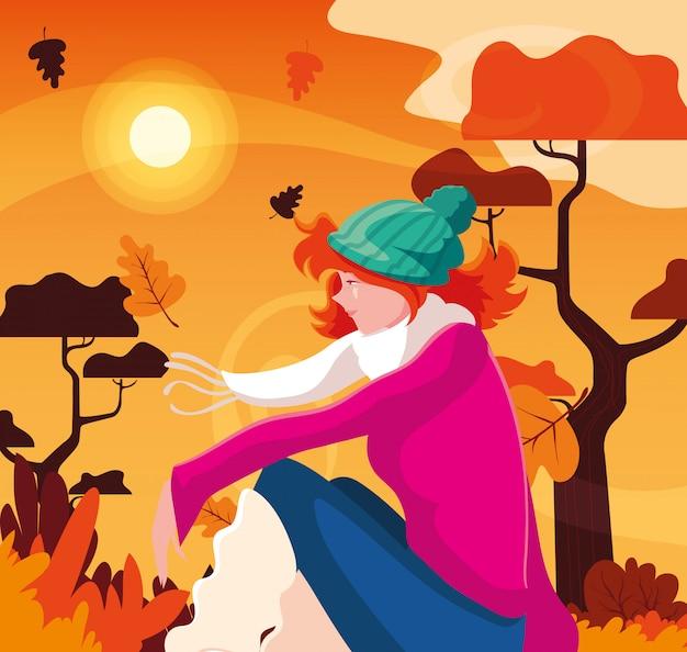 Kobieta jesienią