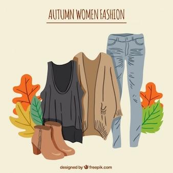 Kobieta jesienne ubrania