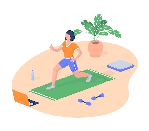 Kobieta jest zaangażowana w izometryczny wektor fitness. kobieca postać na macie sportowej wykonuje ćwiczenia z wideo na laptopie