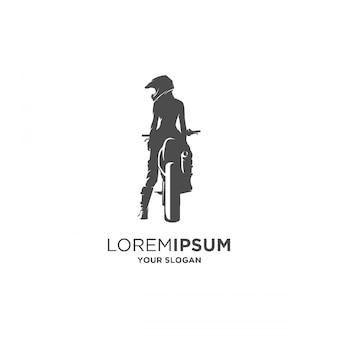 Kobieta jeździec supermoto rower sylwetka logo
