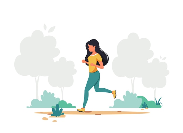 Kobieta jogging w parku. zdrowy styl życia, sport, koncepcja aktywności na świeżym powietrzu.