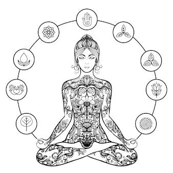 Kobieta jogi dekoracyjne lotos czarna ikona