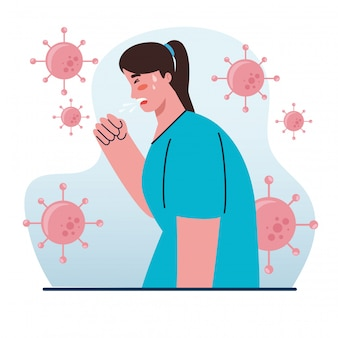 Kobieta kaszel choroba, objaw koronawirusa, problem zdrowotny, koronawirus covid 19, kobieta mdłości, kaszel