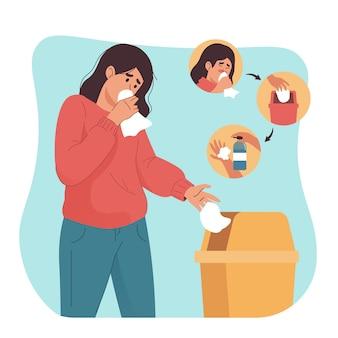 Kobieta kaszel i czyszczenie rąk żelem antyseptycznym. zapobieganie wirusom i infekcjom