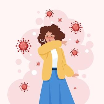 Kobieta kaszel i rozprzestrzenianie koronawirusa